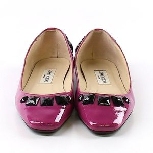 Jimmy Choo Wells Patent Leather Ballet Flats 38 8
